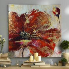 Flores Vino y Oro - Cuadros Decorativos Al Óleo Red Abstract Art, Abstract Flowers, Butterfly Art, Flower Art, Pintura Graffiti, Fleur Design, Summer Painting, Texture Painting, Artist Art