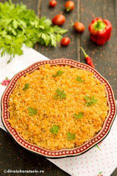 pilaf-bulgur-cu-linte-rosie-bio Romanian Recipes, Romanian Food, Travel Crafts, Quinoa, Spinach, Sushi, Curry, Salad, Vegan