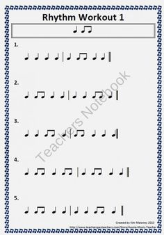 FREE Rhythm Workout Free Download from MusicTeacherResources on TeachersNotebook.com (3 pages)