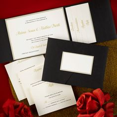 A Timeless Tradition from Carlson Craft - This invitation transcends time with updated elegance and by adding enclosure cards to this pocket, your true look of grandeur will be achieved. Ecru paper displays your invitation wording over a gold shimmering base card. #CarlsonCraft #pocket #wedding #gold #shimmer