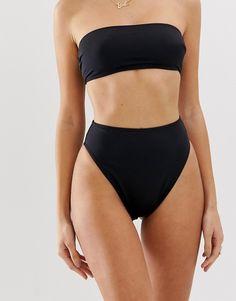 ASOS DESIGN recycled mix and match high leg high waist bikin.- ASOS DESIGN recycled mix and match high leg high waist bikini bottom Plus Size Bikini Bottoms, Women's Plus Size Swimwear, High Waisted Bikini Bottoms, Bikini Tops, High Leg Bikini, The Bikini, Bandeau Bikini, Bikini Swimsuit, Cute Swimsuits