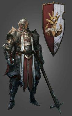 m Paladin Plate Armor Helm Shield Mace Divinity: Original Sin II Kickstarter Campaign Is Live - IGN Fantasy Concept Art, Fantasy Armor, Fantasy Character Design, Medieval Fantasy, Dark Fantasy, Character Inspiration, Character Art, Armadura Medieval, Dnd Characters