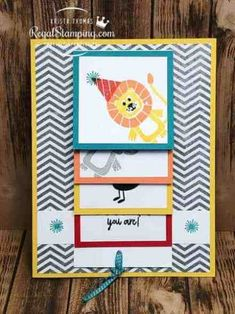 Bonanza Buddies Waterfall Card by sanitystamper - Cards and Paper Crafts at Splitcoaststampers Fun Fold Cards, Folded Cards, Kids Cards, Baby Cards, Cascading Card, Waterfall Cards, Kids Birthday Cards, Teen Birthday, Interactive Cards