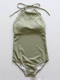Army Green Halter Low Back Scallop Trim Swimsuit – idee per costumi da bagno Green One Piece Swimsuit, One Piece Swimwear, One Piece Swimsuit For Teens, Modest Swimsuits, Cute Swimsuits, Spandex, Nylons, Summer Outfits, Bikini Set