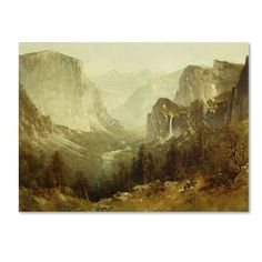 'Hunting In Yosemite 1890' by Thomas Hill Painting Print on Canvas