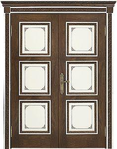 """Двустворчатая межкомнатная дверь """"Ницца"""". Отделка """"слоновая кость + американский орех"""" #дверирулес #двери #межкомнатные #русский_лес"""