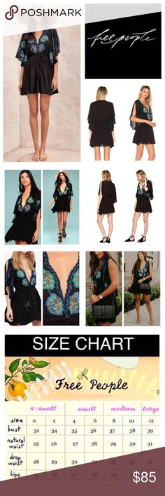 """🆕Free People Cora Embroidered Mini Dress.  NWOT. 🆕Free People Cora Embroidered Mini Dress, 100% viscose, machine washable, 21"""" armpit to armpit (42"""" all around), 27"""" elastic waistband which stretches up to 36"""", 31"""" length, feel beautifully boho in this dress, black with blue, green, purple, and brown multicolored embroidered flowers, scalloped plunging V neckline, a self tie elastic waistband with tassel detail, fluttering wide sleeves with side slits, short slip lining, measurements are…"""