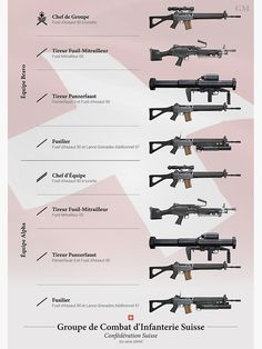 An in-depth look at the organization of the Swiss Army rifle squad as of Military Weapons, Military Art, Military History, Military Force, Weapons Guns, Guns And Ammo, Light Machine Gun, Machine Guns, Squad