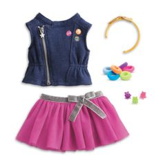 "Your girl can mix and match styles for her Truly Me™ doll! Includes: A moto–style vest that's made for layering, with an asymmetrical zipper front, a cool stand–up collar, and screen–print ""badges"", A"