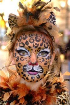 Leopard Face Paint- cute for kids or adults ((For Sissy*&*Mommy for tomorrow!!:)(: I usually do something leopard every year.... and Elija wanted to match Mommy this year!! lol))
