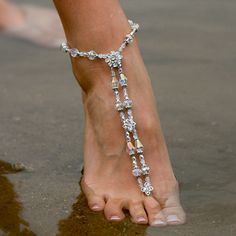 AmberTortoise Jewelry - Luxe White Wedding Barefoot Sandal Foot Jewelry, $149.00 (http://www.ambertortoise.com/luxe-white-wedding-barefoot-sandal-foot-jewelry/)