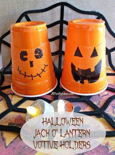 halloween jack o' lantern votive holders, #jackolantern, #pumpkin, #halloween, #partydecorations, #halloweenparty, #fall, #fallparty, #thriftypartydecorations, #thriftyhalloweenparty, #thriftycraft