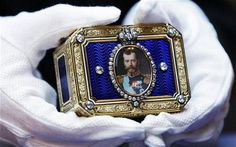 This rare Fabergé snuffbox was thought to be lost until 2010, when it was sold by Christie's for 1,000,000 USD. The snuffbox, with a miniature portrait of Nicholas II in a diamond frame, was presented to Turkan Pasha, the Ambassador of the Ottoman Empire in Russia, in 1913.