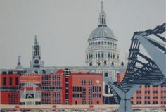St Pauls with City of London School linocut print edition of 40 Jennie… London View, London Art, London Street, City Of London School, Cathedral City, A Level Art, Artist Gallery, Environmental Art, Linocut Prints