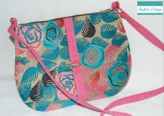 Colorful summer handbag with long pink strap. For orders contact me at: contact@andresdesign,ro or phone: +40770182587