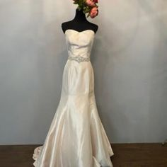 Strapless Satin Belt Fit & Flare Wedding Dress • Ava's Bridal Couture Affordable Bridal, Fit And Flare Wedding Dress, Bridal Salon, Bridesmaid Dresses, Wedding Dresses, Classic Looks, Ava, Short Dresses, Satin
