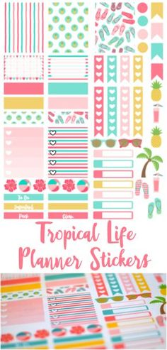Free Tropical Life Planner Stickers at Munchkins and the Military