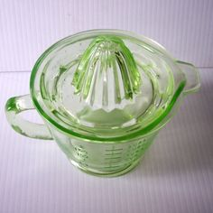 Vintage Green DEPRESSION Glass Juice Reamer Complete with 2 cup Measuring Cup