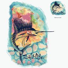 Watercolor Sailfish Short Sleeve Tee - All Women's - Salt Life Fish Art, Graphic Shirts, Pictures Of You, Short Sleeve Tee, Watercolor Art, Salt, My Style, Tees, Louisiana