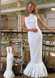 Wedding elegant long crochet women dress.