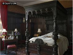 Gothic four poster and wood canopy bed, detailed carvings, dark wood Castle Bedroom, Mansion Bedroom, Gothic Bedroom, Dream Bedroom, Gothic Mansion, Gothic House, Gothic Castle, Tudor House, Haunted Mansion