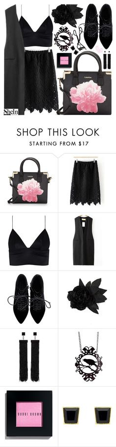 """""""Black is such a happy color... with Shein!"""" by pastelneon ❤ liked on Polyvore featuring Calvin Klein, T By Alexander Wang, Faith Connexion, Tom Ford, Chanel, Bobbi Brown Cosmetics and Monet"""