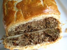 Nut roast with mushrooms in puff pastry- my Thanksgiving favorite. I like to add some quinoa and parmesan cheese to the nut mixture in this recipe.