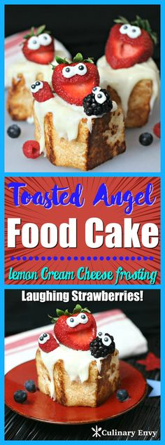 Toasted Angel Food Cake with Laughing Strawberries and Lemon Cream Cheese Frosting is light, fluffy, FUN and SO yummy! It will easily become a family favorite dessert this summer! Click to read more!