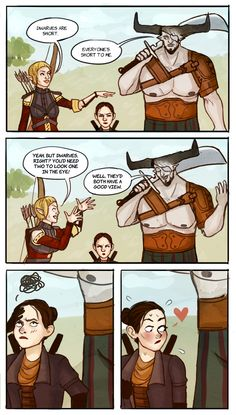 """tashabatata: """" I heard this super silly party banter and had to draw my dorf's pre-romance reaction to it. """""""