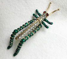 Kenneth Jay Lane Grasshopper pin brooch rhinestone & enamel