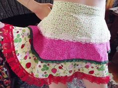 Vintage Frilly Apron, Triple Layer, Colorful Cotton Fabric, and Lace, Strawberry Print, Pink, Goes all around to Back by TomCatBazaar on Etsy