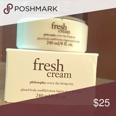 Philosophy Fresh Cream Glazed Body Soufflé The fresh cream glazed body souffle soothes and protects skin while lightly scenting the skin with a well-loved fresh cream scent. Philosophy Makeup