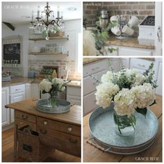 "White Farmhouse Kitchen at Gracie Blue ""Love the Chandie!"""