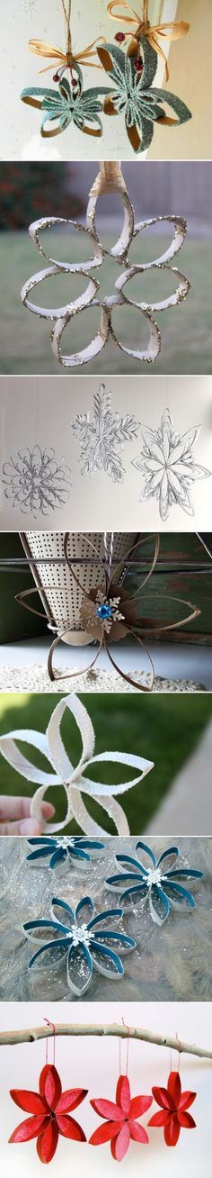 Toilet Paper Roll Snowflakes! Cheap, easy & pretty.