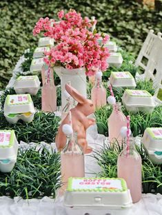 Pretty table at an Easter egg hunt party! See more party ideas at CatchMyParty.com!