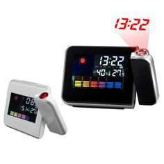 Digital Snooze Alarm Clock Wall Projection Thermometer Humidity Bedside Wake Up Table Click