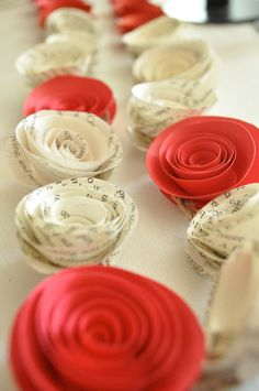 Paper Garland Book Pages and Red Flowers. $15.00, via Etsy.