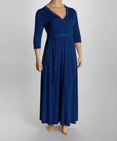Another great find on #zulily! Blue & Black Geometric Surplice Maxi Dress - Plus #zulilyfinds