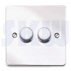 Polished Chrome Flat Plate Dimmer 2 Gang by MK Edge 120