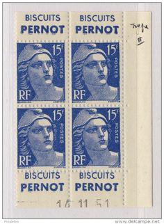 FRANCE - 1951 N°886 TII 15fr GANDON COIN DATÉ +PUBS PERNOT DE CARNET 14-11-51 **