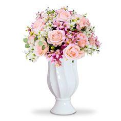 arranjo de flores artificiais rosas e astromelias no vaso branco torcido
