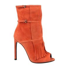Pre-Owned $1050 Nib  Gucci Orange Suede Peep Toe Gladiator Fringe... ($600) ❤ liked on Polyvore featuring shoes, boots, ankle booties, orange, peep-toe ankle booties, suede booties, suede bootie, fringe booties and peep-toe booties