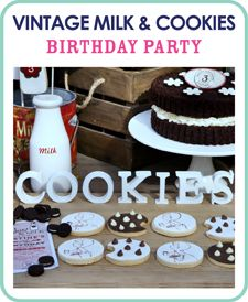 TONS of party ideas! Vintage Milk and Cookies Birthday Party Ideas