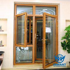 Wood grain heat-insulated aluminium profile for combined type casement windows and doors.