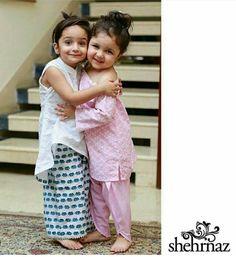 Pakistani Eid kids' outfits by Shehrnaz.