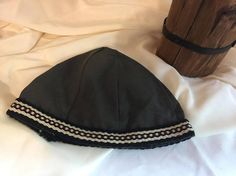 Viking, Norse, Anglo Saxon, grey linen, with red, black, and white inkle loom weaving trim