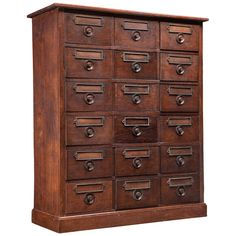 Oak Apothecary Chest | From a unique collection of antique and modern apothecary cabinets at https://www.1stdibs.com/furniture/storage-case-pieces/apothecary-cabinets/