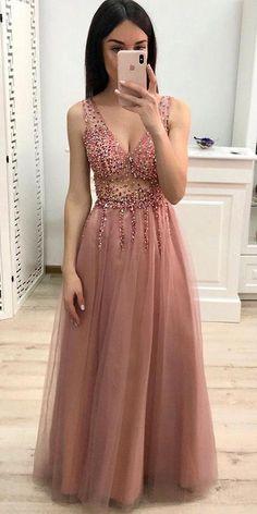 A-Line V-Neck Beading Pink Prom Dresses Long A-Linie V-Ausschnitt Perlenstickerei Rosa Ballkleider Langes Tüll-Ballkleid – Mode Kleider A-Line V-Neck Beading Pink Prom Dresses Long Tulle Ball Gown - Prom Dresses Long Pink, V Neck Prom Dresses, Tulle Prom Dress, Grad Dresses, Sexy Dresses, Formal Dresses, Pink Dresses, Formal Prom, Party Dresses