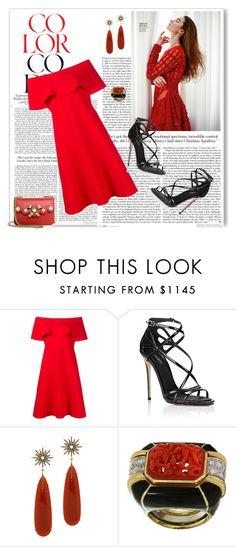 """""""Untitled #3992"""" by barones-tania ❤ liked on Polyvore featuring Valentino, Dolce&Gabbana, Christina Debs, David Webb, Gucci and ruffles"""