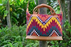Embroided Guatemalan Fair Trade Burgandy Yellow by mezoCULTURE